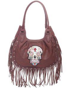 Brown~Sugar Skull~Day of Dead~HandBag~Purse~Embroidery~Studs~Fringe~Gothic~Punk #Unbranded #ShoulderBag