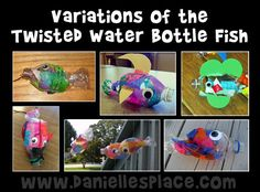 Variations of the Twisted Water Bottle Fish Craft from crafters on  www.daniellesplace.com
