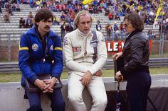 Hans-Joachim Stuck with Team Brabham's Gordon Murray and Bernie Ecclestone 1977