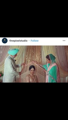 Parents putting on brides dupatta / veil on wedding day
