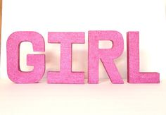 Baby Girl Shower Glittered Stand Alone by janetwhatmandesigns