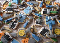 Tools and paint brushes Cookies Man Cookies, Cookies For Kids, Iced Cookies, Royal Icing Cookies, Sugar Cookies, Cupcakes, Cupcake Cookies, Cookie Designs, Cookie Ideas