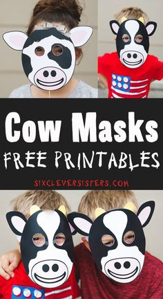 Get ready for Chick Fil A's Cow Appreciation Day with our free printables! We've got boy & girl Chick Fil A Cow Mask, paper plate mask printable, and more! Printable Cow Mask, Printable Crafts, Templates Printable Free, Free Printables, Printable Box, Animal Face Mask, Animal Masks, Face Masks, Farm Animal Crafts
