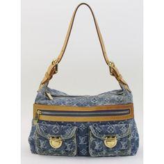 Louis Vuitton Blue Monogram Denim Baggy PM Shoulder Bag- 649 #moshposh