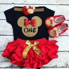 First Birthday outfit/ Minnie birthday/All around by BabyTrendzz