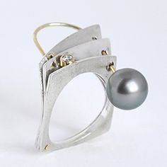 """Ring   Maressa Tosto Merwarth. """"Come Around"""". Sterling silver, 14k gold, Tahitian pearl and diamonds."""