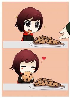 Ruby and cookies in the first episode (after meeting the headmaster)