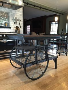 Pretzel Logic - Vintage Factory Styled Industrial Cart Table / Kitchen Island / Antique Cart / Utility Table / Cabinets by ArchitectStyle on Etsy https://www.etsy.com/listing/242031388/pretzel-logic-vintage-factory-styled