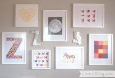 cute wall art ideas...butterflies, spray painted animals, and string art shaped as a heart