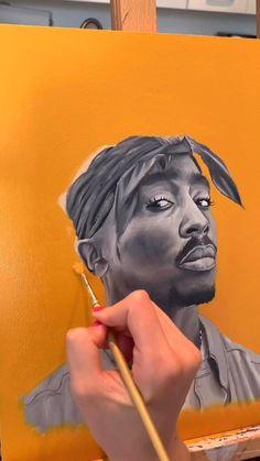 Tupac Shakur, 2pac, Tupac Art, Rapper Art, Hip Hop Art, Acrylic Painting Techniques, Spiderman Art, Diy Canvas Art, Jenni