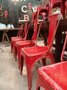 Set of 50 Red Vintage Tolix Chairs 4