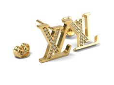 LV logo Earrings 2 3D print model Metal weight for both earrings without locks : Yellow gold 18kt - 4.4gr Diamond 1mm - 30 Copy for Louis Vuitton earrings! Model is ready for prototyping on CNC and 3D Printing.