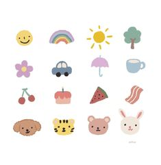 Cute Small Drawings, Mini Drawings, Kawaii Doodles, Cute Doodles, Kawaii Stickers, Cute Stickers, Journal Stickers, Planner Stickers, Emoticons
