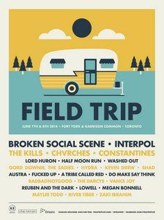 Broken Social Scene, Interpol, The Kills Field Trip poster by Doublenaut