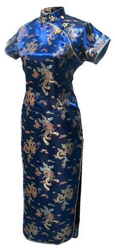 Free shipping Mandarin Collar Qipao Chinese dress Phoenix Dragon Pattern Cheongsam Traditional Clothing Oriental Dress