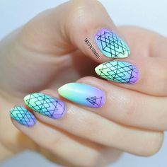 New gradient nail art for the weekend For do it, I used the Festival  Stamping Plate BM-S3...