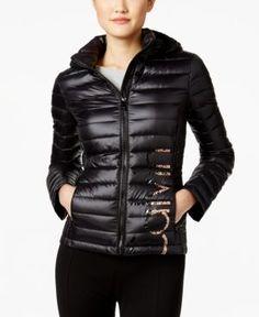 Calvin Klein Logo Packable Puffer Coat - Gray XS