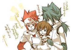 Kyoya, Modoka, and Gingka. I love this so much! Beyblade