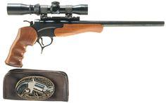Two Hand Guns -A) Thompson Center Arms Encore Single Shot Pistol Handgun, Firearms, Revolvers, Thompson Contender, Thompson Center, Hunting Guns, Home Defense, Guns And Ammo, Shotgun