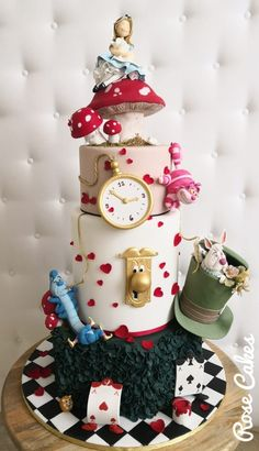 Alice in Wonderland - cake by Rose Cakes Alice In Wonderland Tea Party Birthday, Alice In Wonderland Cakes, Wonderland Party, First Birthday Parties, First Birthdays, Mad Hatter Cake, Sweet 16 Themes, Crazy Cakes, Disney Cakes