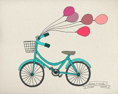 Bike & Ballons  8 x 10 Illustration Print by whimsyandwonderart, £7.99