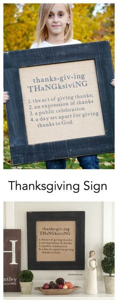Thanksgiving Decorations | Looking to update or add to your Thanksgiving Decorations? Make this simple and classy Thanksgiving Sign. Tutorial so you can make your own.