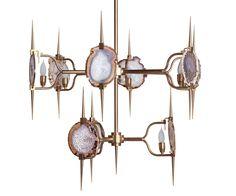 Two Tier, Eclipse Agate Chandelier, Brass - Emporium Home   Emporium Home