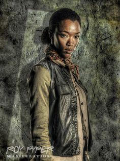 A re-edited Walking Dead promo photo featuring Sasha, incorporating a HDR and oil paint effect. Created in Photoshop using various filters and photo sto. Walking Dead Pictures, Walking Dead Art, Sasha Williams, Sonequa Martin Green, Best Tv Series Ever, Beautiful Dark Skinned Women, Caricature, Jon Snow, Fan Art