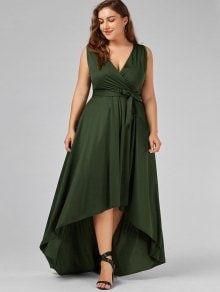 V Neck High Low Plus Size Prom Dress