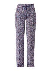 Amber loose fit broek met pyjama look Donkerblauw