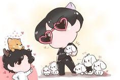 Sehun And Luhan, Exo Couple, Exo Fan Art, Hunhan, Chibi, Kpop, Minnie Mouse, Disney Characters, Fictional Characters