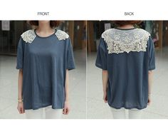 Lace-Trim Short-Sleeve T-Shirt - CLICK   YESSTYLE