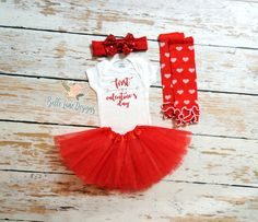 First Valentine's Day Girl's Outfit w Tutu, Bow, Leg Warmers | Girl First Valentine's Day | Valentine Onesie | Baby First Valentine | 156 by BelleLaneDesigns on Etsy