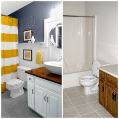 Basic beige gets an affordable cottage refresher with board-and-batten wainscoting and some handsome gray paint.