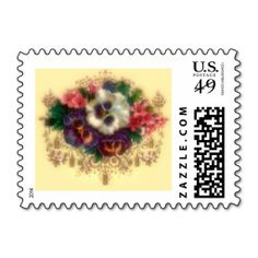 "Victorian ""Gilded Pansies"" Postal Stamp"