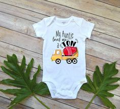 Aunt shirt, My Auntie Loves me a Ton, Nephew Gift, Aunt Baby Bodysuit, Cute Baby Clothes, Auntie shirt, Nephew Onesie, Baby Shower Gift, Nephew Baby Shower, Construction vehicles, Construction party theme