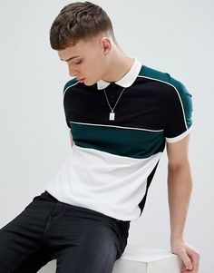 Buy ASOS DESIGN polo shirt with colour block and contrast piping in black at ASOS. Get the latest trends with ASOS now. Mens Polo T Shirts, Polo Tees, Boys Shirts, Mens Tees, T Shirt Men, Polo Shirt Design, Polo Design, Polo Shirt Style, Camisa Polo