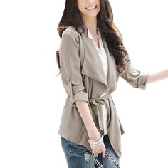 Allegra K Ladies Front Opening Long Sleeve Textured Spring Coat w Waistband Khaki XS for only $12.39