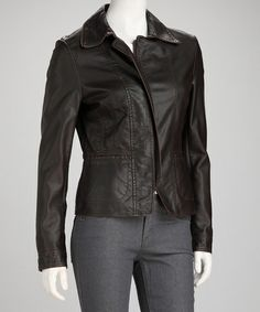 Take a look at this Brown Faux Leather Zipper Jacket by Romance on #zulily today!