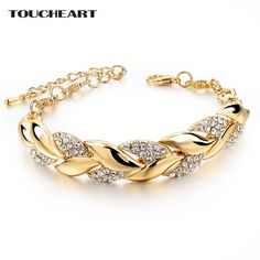 $5.9 - Awesome TOUCHEART Braided Gold color Leaf Bracelets & Bangles With Stones Luxury Crystal Bracelets For Women Wedding Jewelry Sbr140296 - Buy it Now!