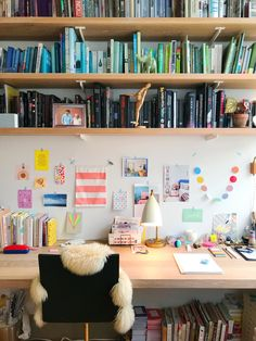 Take a look at the creative space of designer and founder of Ingrid Fetell Lee. ⠀ ⠀ My workspace occupies a corner of my… Office Workspace, Home Office, Brooklyn Apartment, Corner House, Bright Homes, Be Kind To Yourself, Dorm Rooms, Home Decor Inspiration, Study Inspiration