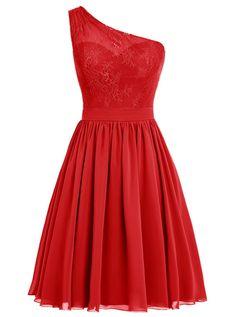 Dresstells, Une épaule Robe de demoiselle d'honneur Robe de soirée de cocktail mousseline longueur genou, rouge50