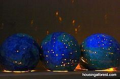 """earth day craft for kids papier mache light up globes..this would be a hands-on project ...make them about 6"""" in diameter. This would keep it  from becoming to difficult for the kids, and taking too much time from class schedule."""