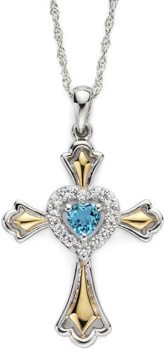 JCPenney FINE JEWELRY Swiss Blue Topaz & Lab-Created White Sapphire Two-Tone Cross Pendant Necklace