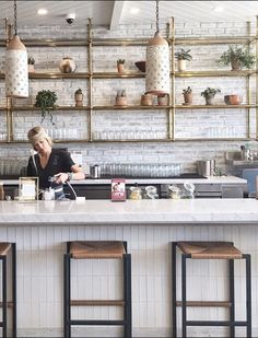 All vegan restaurant with beautiful decor using brass and white brick #losangeles #california