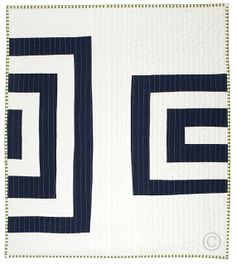 Graphic Modern Baby Quilt - Midnight & White by bperrino at Etsy