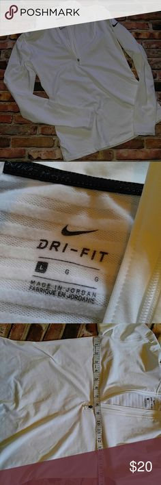 Women's Nike Dri-Fit Polo Shirt L White 3/4 Zip great for a ski trip.  No stains or holes Nike Tops