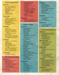 An extensive list of the parks attractions, shops, and dining from the back cover of a 1957 guidebook