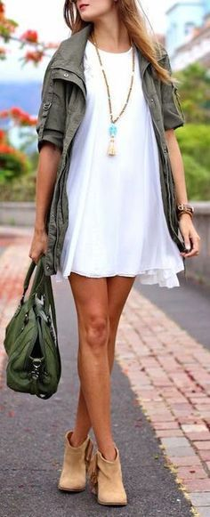 like the idea of this dress transitioning, different accent color though, olive green is ick on me