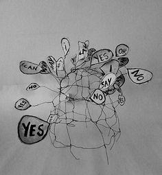 | yes i can say no | limited range of expression. wearable object. wire, paper, paint. Ines Seidel